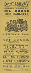 Poster for an evening's entertainment at the Canterbury Theatre of Varieties